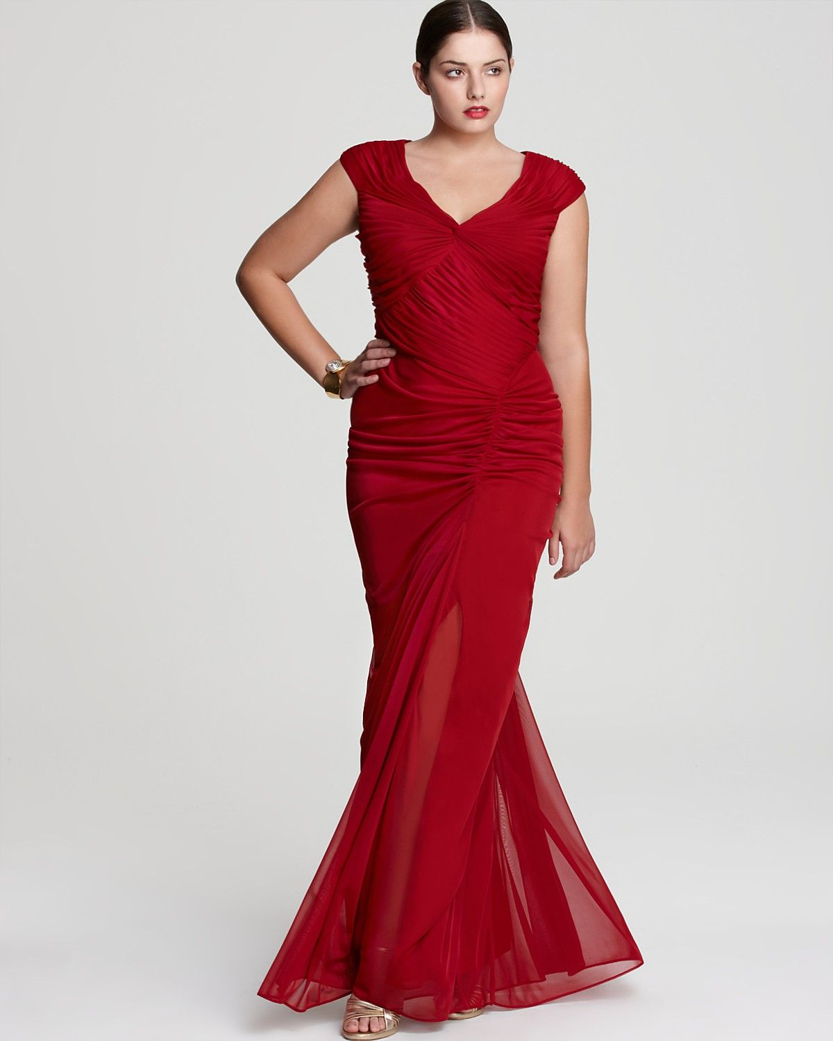 Adrianna Papell Plus Gown - Long Ruched Cap Sleeve | Bloomingdale\'s ...