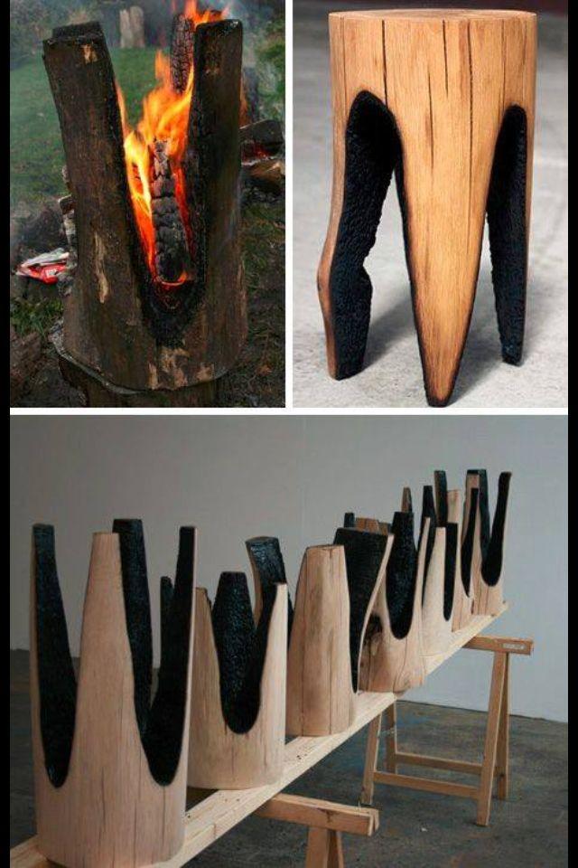 Möbel Aus Baumstämmen Und Dann Abgeflämmt Sehr Gute Idee Mehr