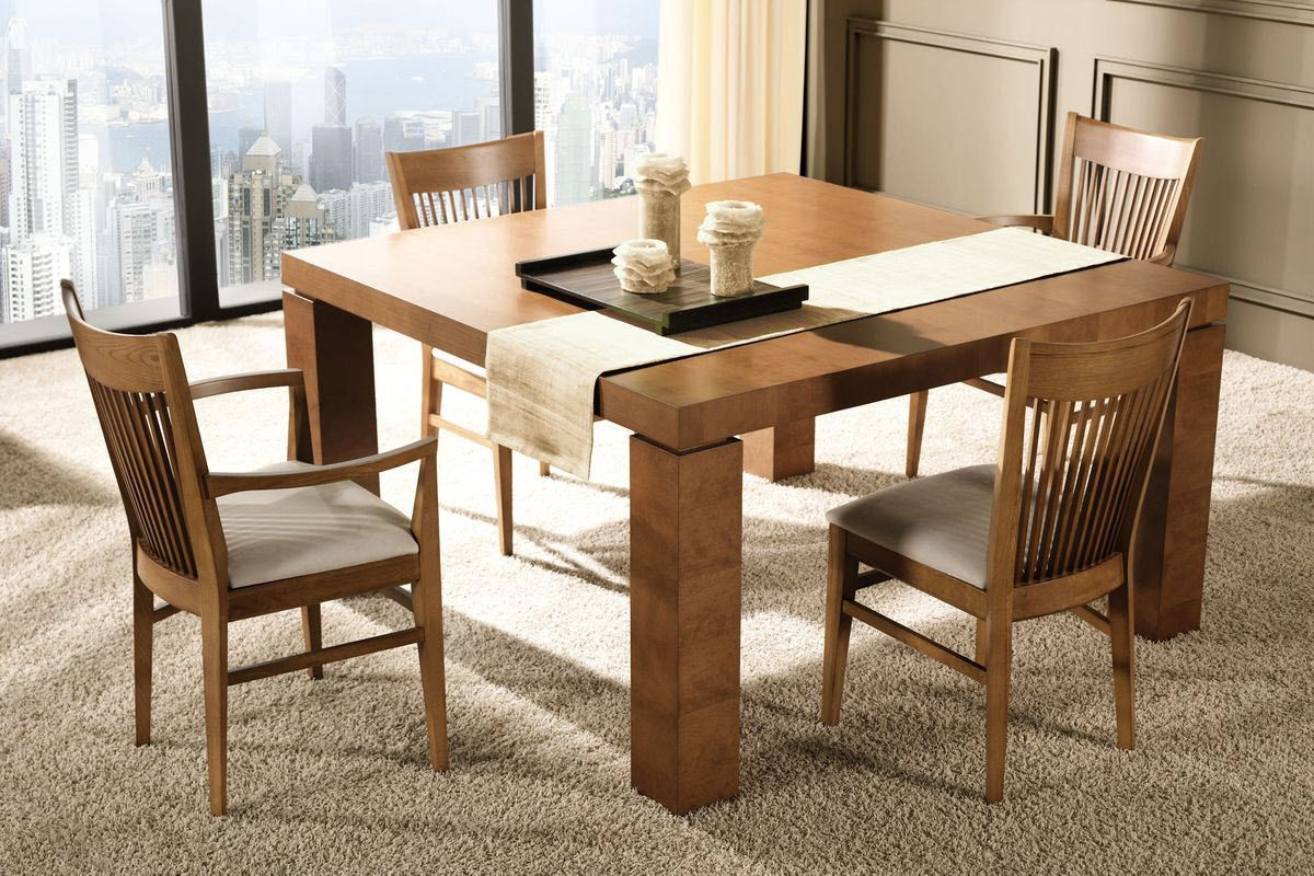 Elegant Desk And Table, Traditional Wooden Dining Table On The White Rug In Room  With Sky View: Appealing Dining Table Ideas Nice Ideas