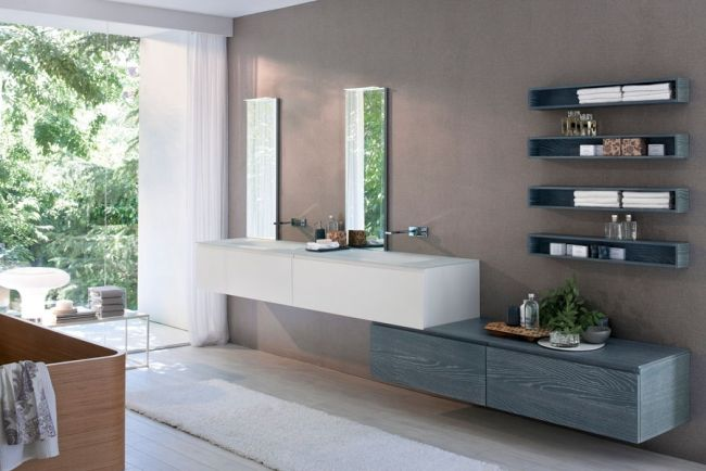 holz-wandregale bad möbel trends waschbeckentisch-italienisches, Badezimmer