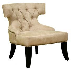 Diamond Tufted Accent Chair With A Wood Frame And Foam Padding. Product:  Chair Construction Material: Wood, Fabric And Polyurethane Foam Color:  Beige ...