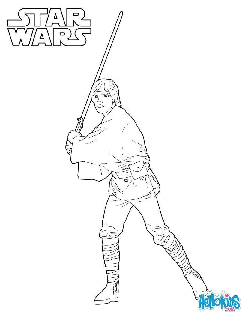 Luke Skywalker Coloring Sheet More Star Wars Coloring Pages On Hellokids Com Star Wars Coloring Book Star Wars Drawings Star Wars Colors