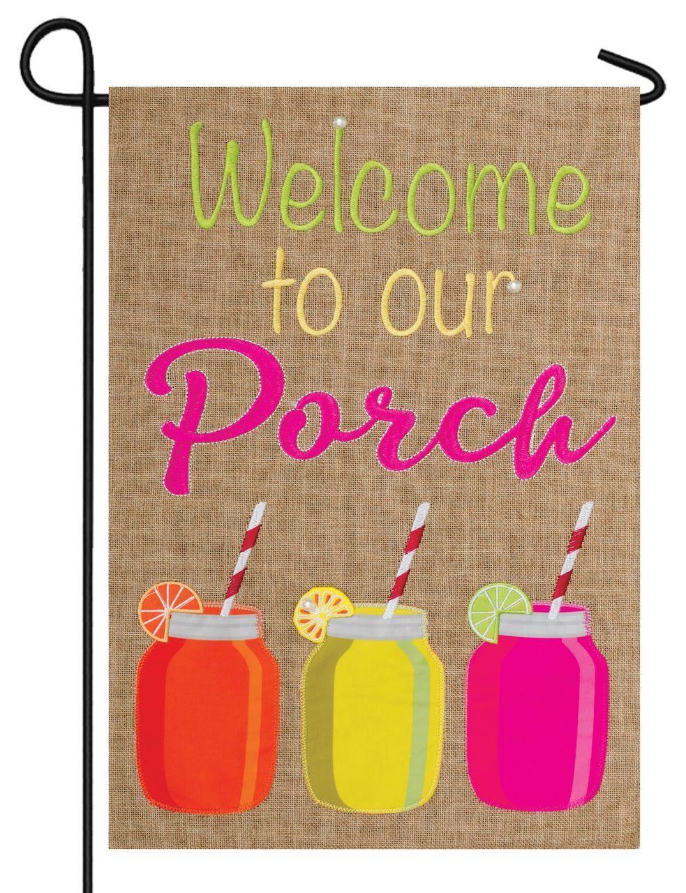 Burlap Welcome to Our Porch Double Applique Garden Flag | Flags For ...