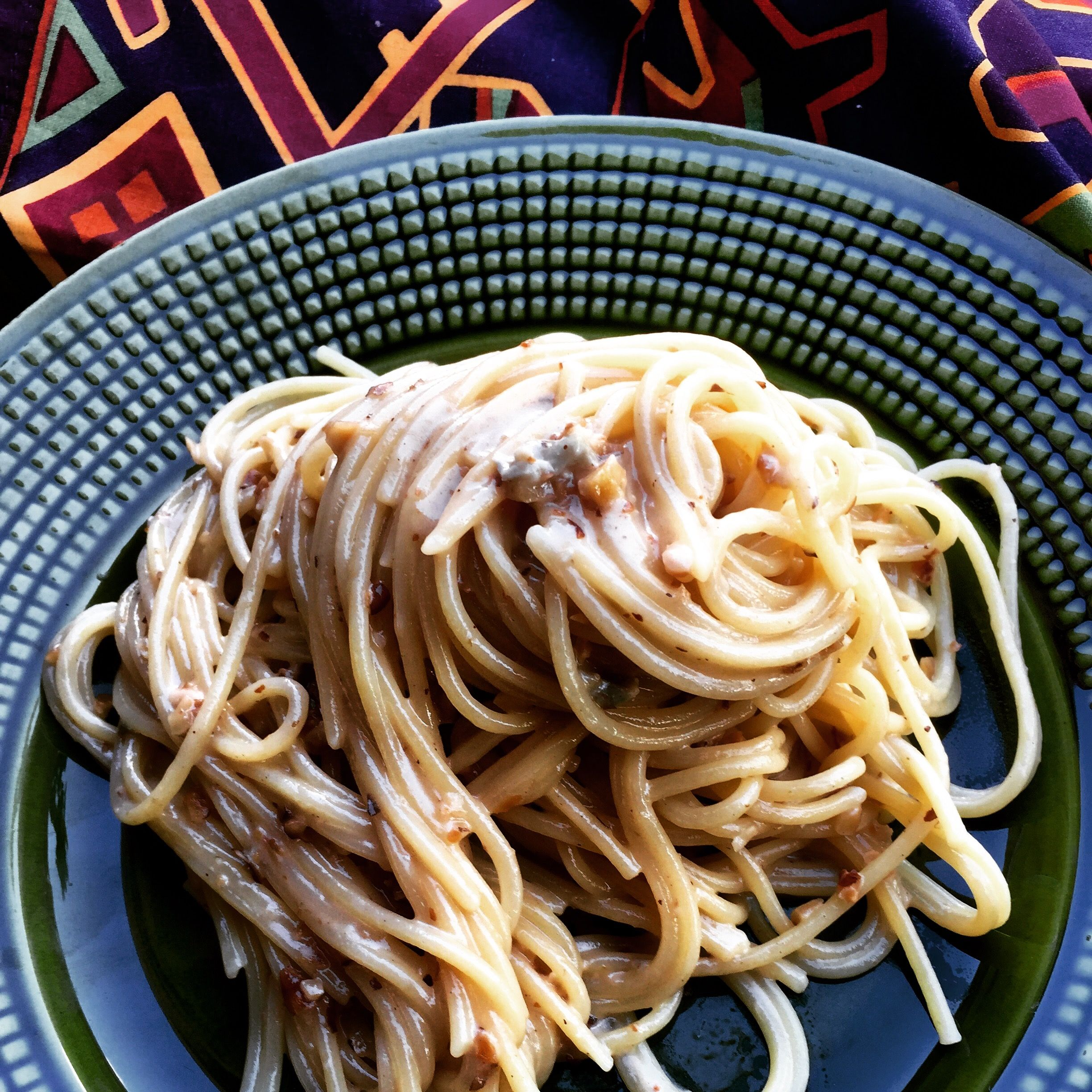 Conti Bronze Drawn Artigianale Spaghetti with Walnut and Gorgonzola sauce.