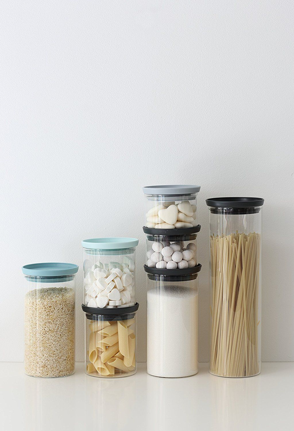 Space in the kitchen by adding shelves and glass canisters with seals - Amazon Com Brabantia Stackable Glass Food Storage Containers Set Of 3 Kitchen