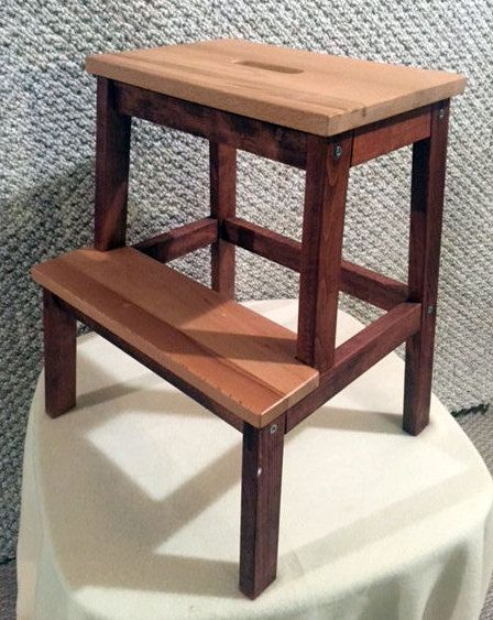 Double Step Stool Adult Step Stool Kitchen Step By ZuraWoodcrafts