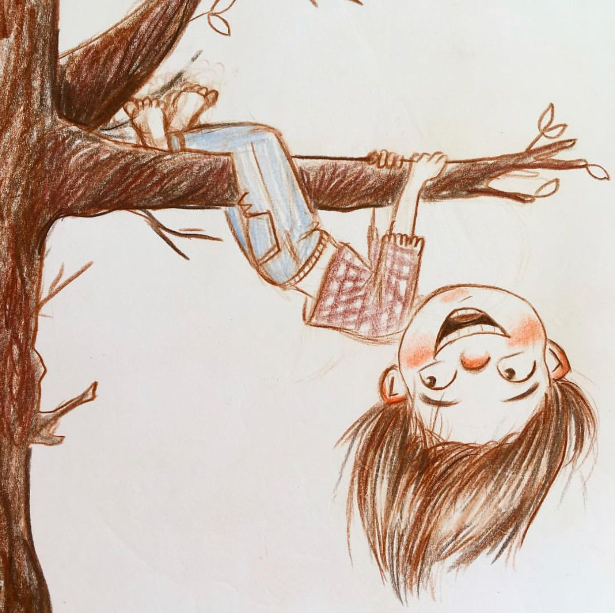 Girl Hanging Upside Down From Tree Miriam Kraft Tree Drawing Drawing People Artist Inspiration
