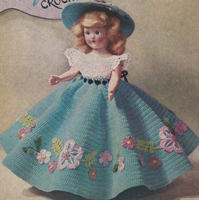 Vintage Crochet Pattern To Make 7 8 Inch Doll Clothes Dress Hat