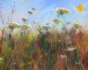 Wildflowers with Sweet Peas and Daisies por KarenMargulisFineArt
