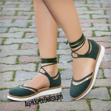 Zenit Süet Yeşil İpli Babet Ayakkabı