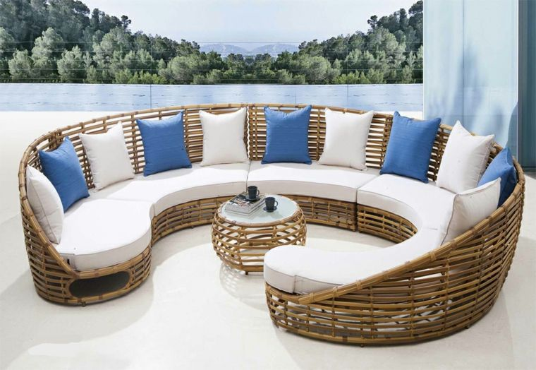 sof redondo de mimbre moderno