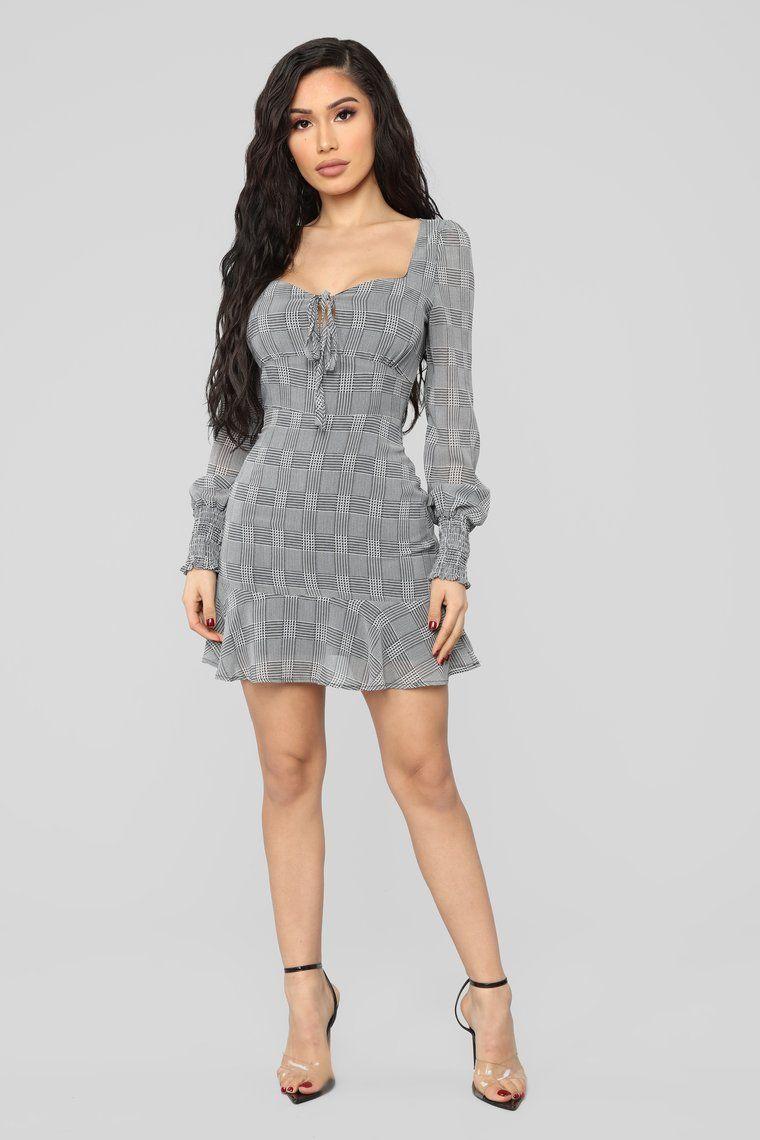 Plaid About You Ruffle Dress Grey Fashion, Night dress