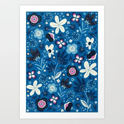 Blue Meadow Art Print by Anna Deegan - $16.00