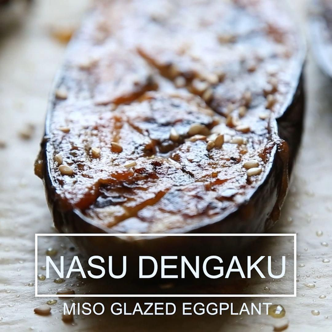 This is a traditional recipe for nasu dengaku, or Japanese eggplant with miso glaze. Sweet, savory and melt-in-your-mouth tender bites of eggplant. The best! A healthy recipe that's vegan and low carb. #japanesefood #veganrecipes #plantbased #vegetarianrecipes #healthyrecipes #whole30cookies