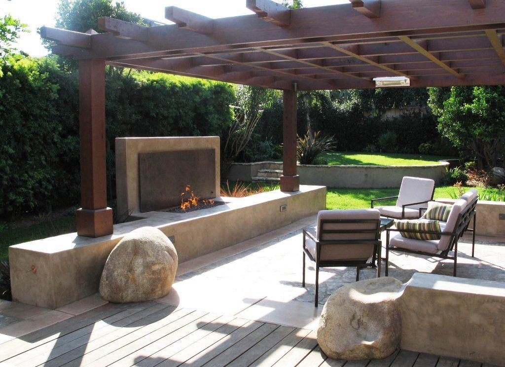 Concrete Block Outdoor Fireplace Design Modern Outdoor Fireplace And Seat Wall Modern Landscaping Exterior Design Backyard Outdoor Pergola