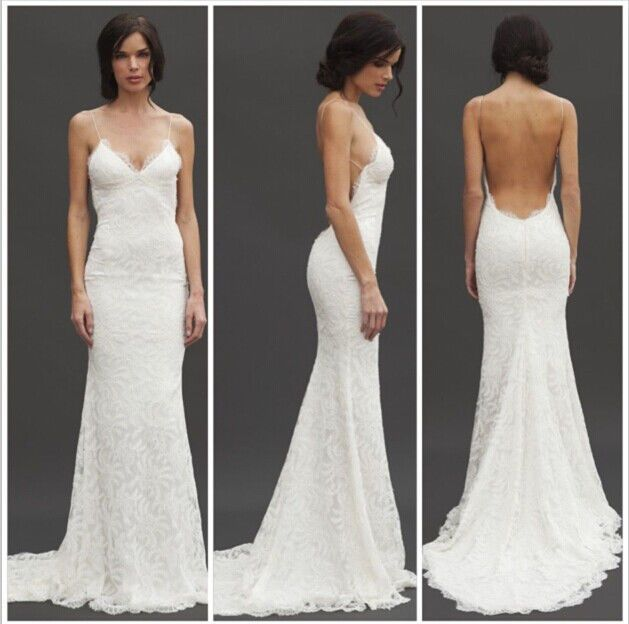 New sex lace wedding dress low back spaghetti strap custom for Spaghetti strap wedding dress