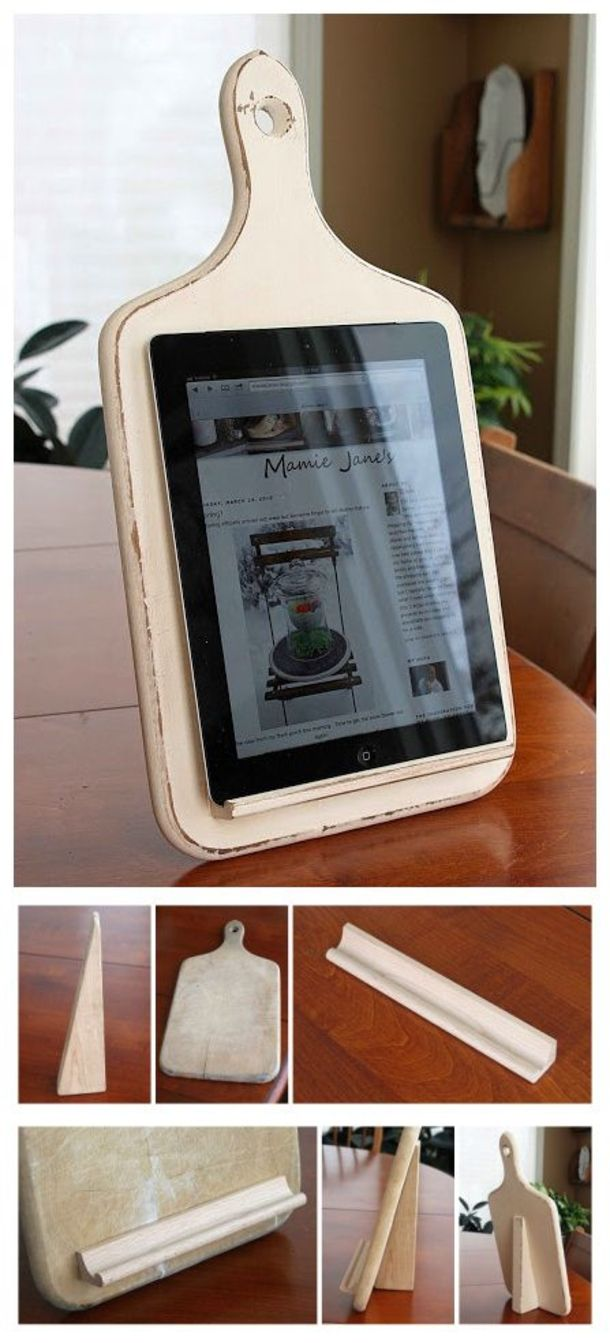 DIY Cutting Board Stand - holds your Ipad, Tablet, or your Kindle / Nook!  Not only is it functional, it looks great on your counter when not in use! This one uses a Scrabble game tile holder and a child's block, but you can easily use some pre-made, store-bought molding and a piece of wood cut to fit! Use your old cutting board or hit yard sales/thrift stores to find one! #thriftstorefinds