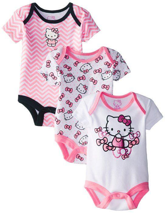 c66e909b91b5 Hello Kitty Baby Baby-Girls Newborn 3 Pack Bodysuits with Bows ...