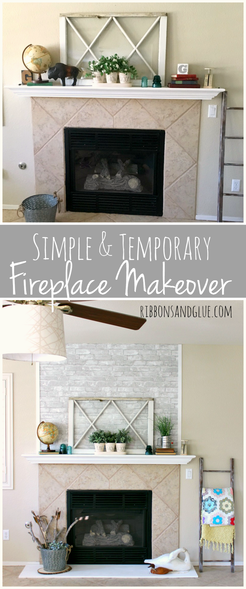 simple and temporary fireplace makeover brick wallpaper faux
