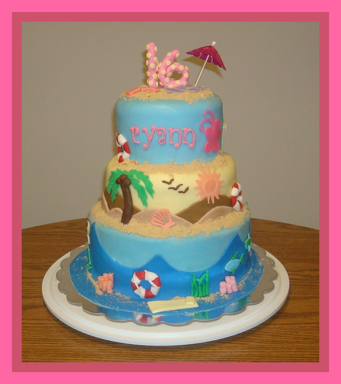 sweet 16 beach themed cake client supplied multiple pictures for