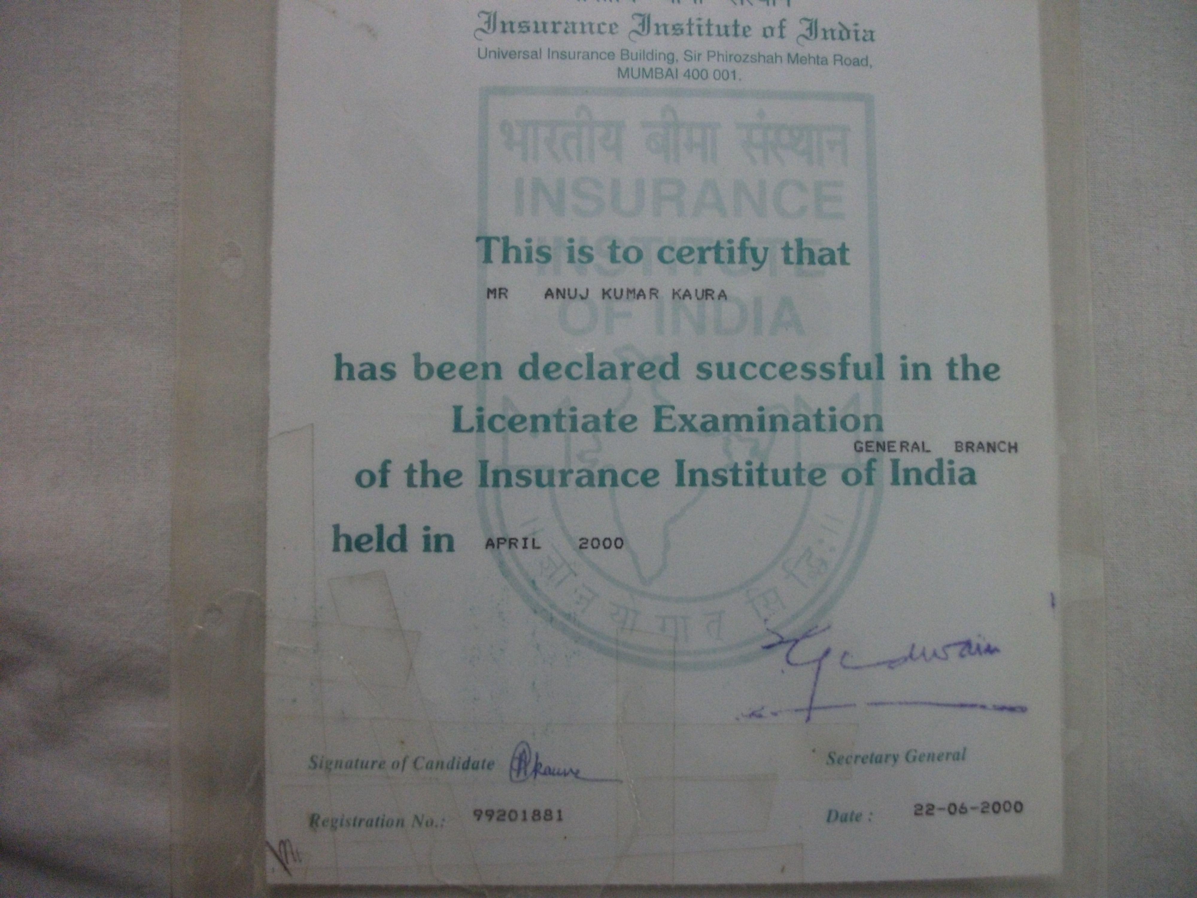 Licenciate Of Insurance Institute Of India Anujkaurainsurancewix