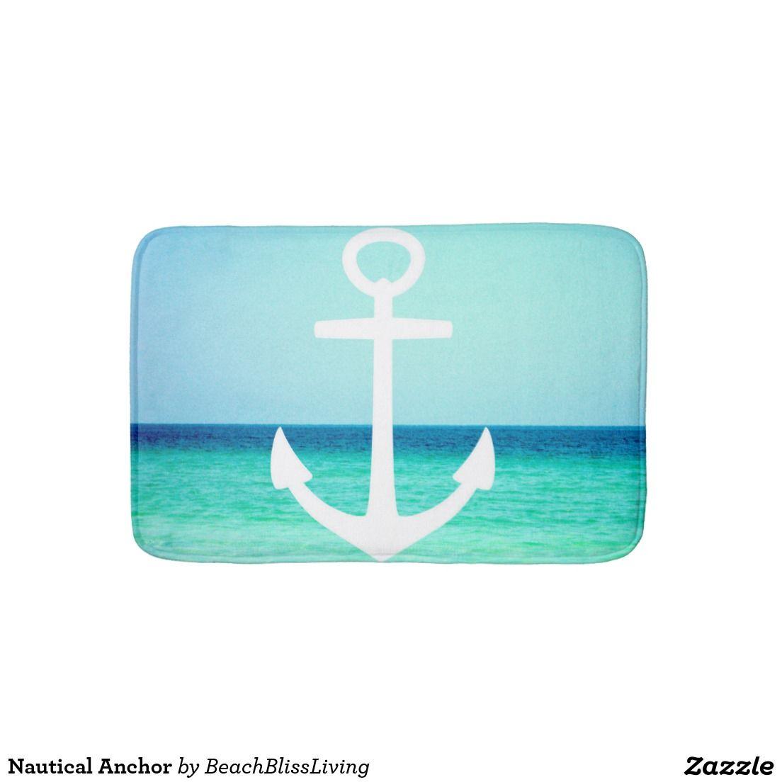 nautical mat pin anchor bath blue red bathroom mats stripes white and