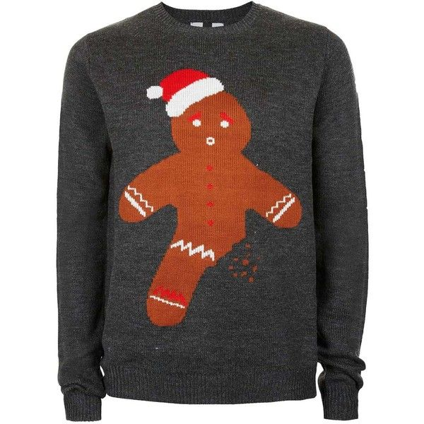 topman grey gingerbread man christmas jumper 38 a liked on polyvore featuring men s fashion men s clothing men s sweaters tops grey mens slim fit