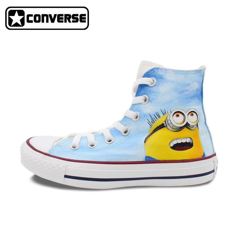 cdefb1c852c3e2 Sky Blue Converse Chuck Taylor Men Women Shoes Despicable Me Minions Design Hand  Painted Shoes Sneakers