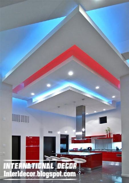 Creative suspended ceiling design for kitchen gibson board unique false ceiling led