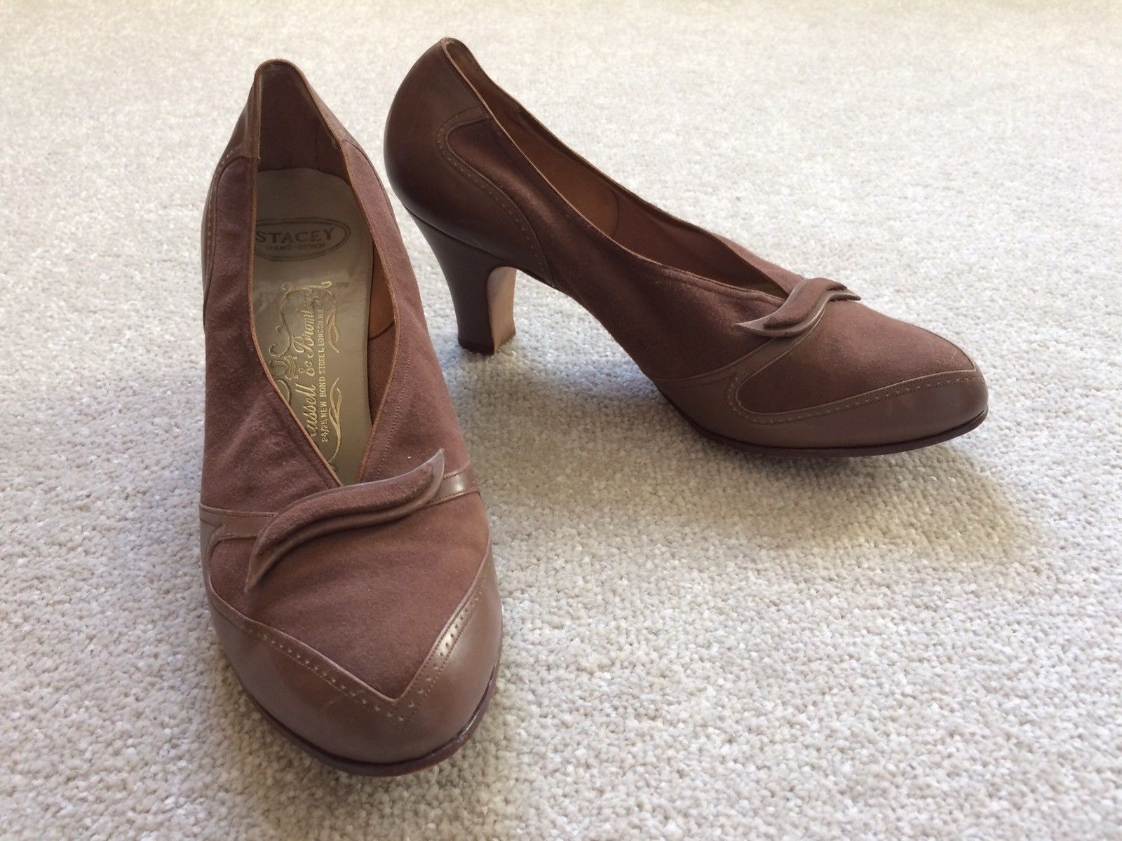 Lovely 1940s or early 50s shoes. Good quality. Marked as 5 but I'm a 4 so I'd say a 4 to small 5. Nice light brown, caramel colour. Russel and Bromley | eBay!