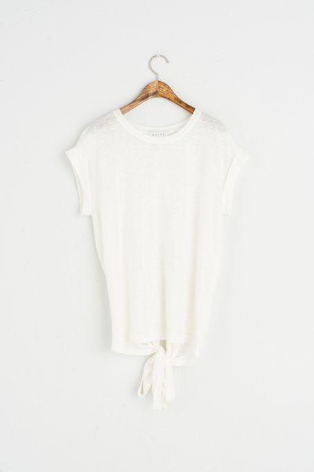 Open Back Linen Top, Ivory