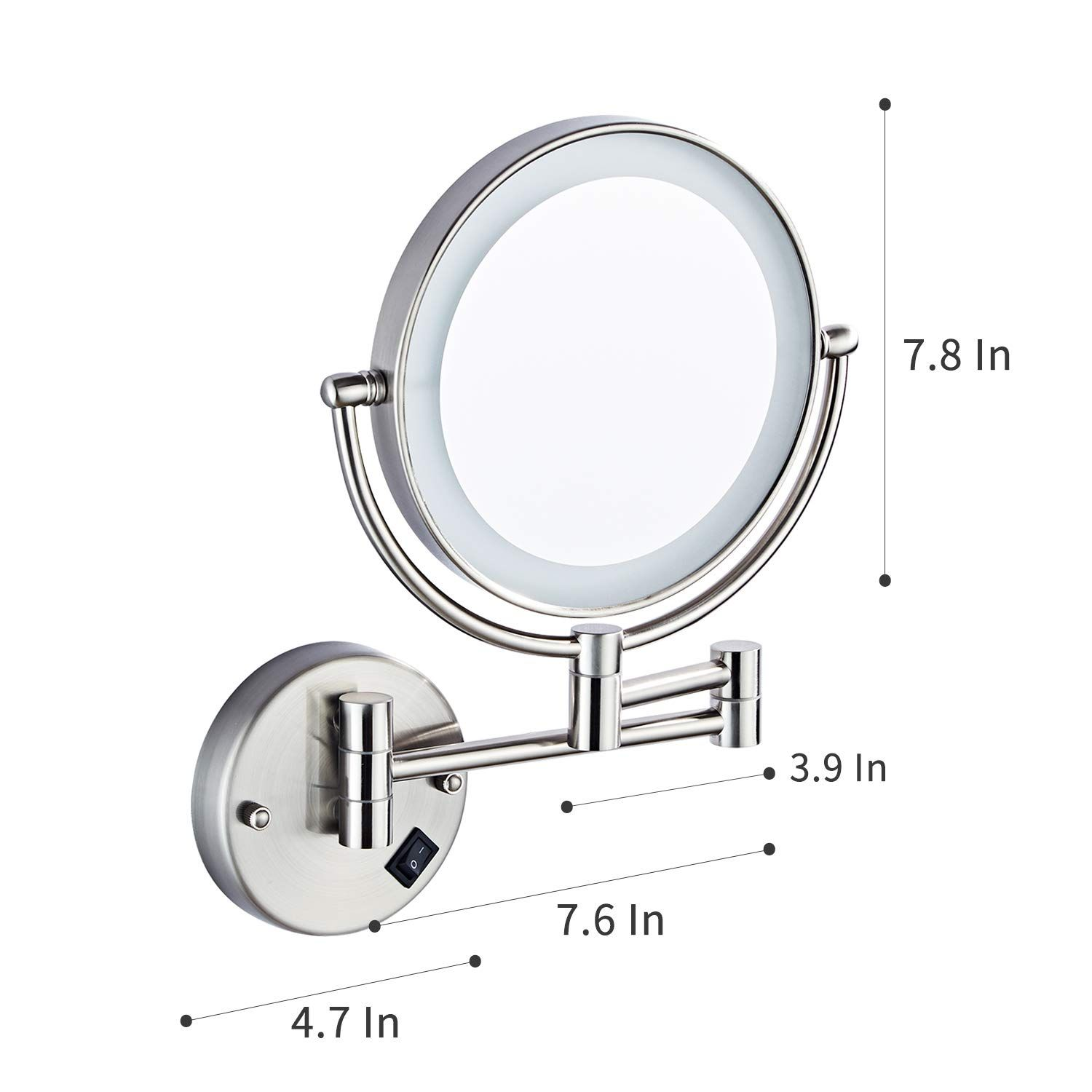 Halo Sanitary Magnification Extension Adjustable In 2020 Led Mirror Adjustable Lighting Round Mirror Bathroom