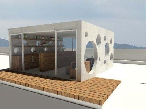 Modulo Prefabricado Para Quiosco Cafetería Santos Mera