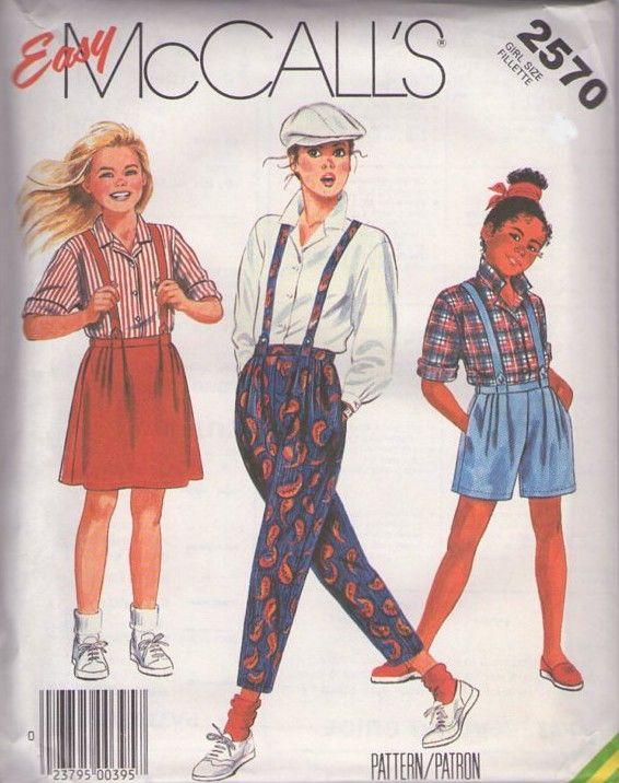MOMSPatterns Vintage Sewing Patterns - McCalls 2570 Vintage 80s Sewing Pattern FUN Easy Girls New Wave Brat Pack Blouse, Pleated Suspenders Skirt, Shorts & Capri Pants - very on trend!