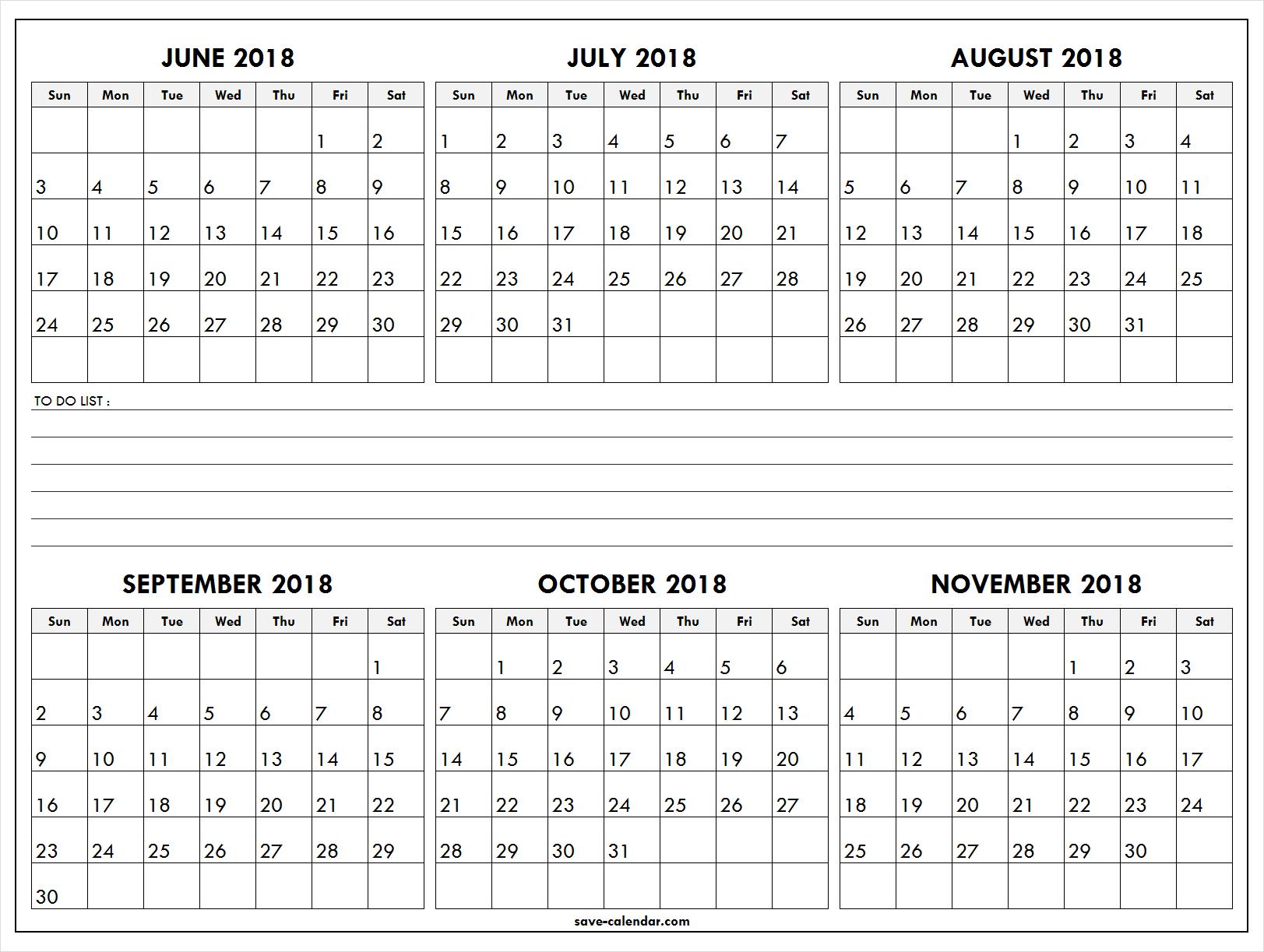 Six month calendar june to november 2018 2018 calendar pinterest six month calendar june to november 2018 maxwellsz