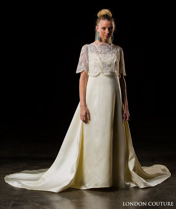 Vintage Wedding Dresses In London: Beautiful Column Gown W/ A Lace Overlay And Sleeves Across