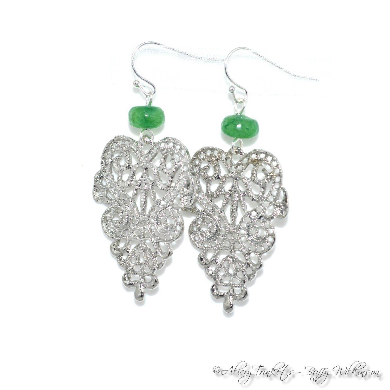 This item is unavailable #20thanniversarywedding Emerald filigree chandelier earrings, May birthstone birthday 20th anniversary jewelry gift, wedding prom bride gemstone jewellery #20thanniversarywedding