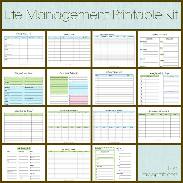 Life Management Printable Kit Includes these 15 printables Auto - vehicle maintenance sheet template