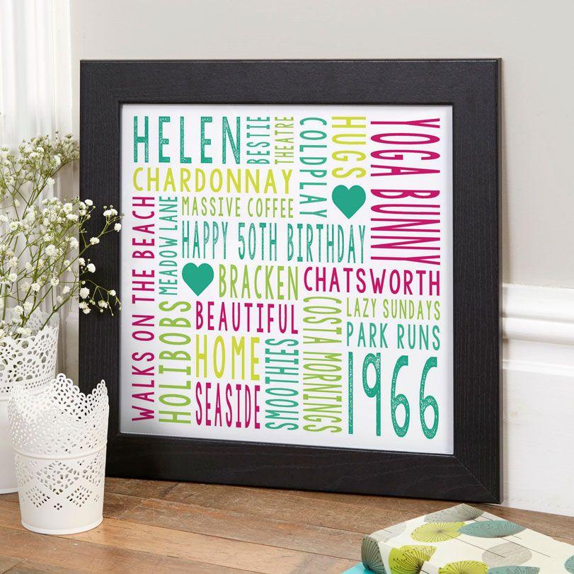 Personalised 50th Birthday Gift Word Art
