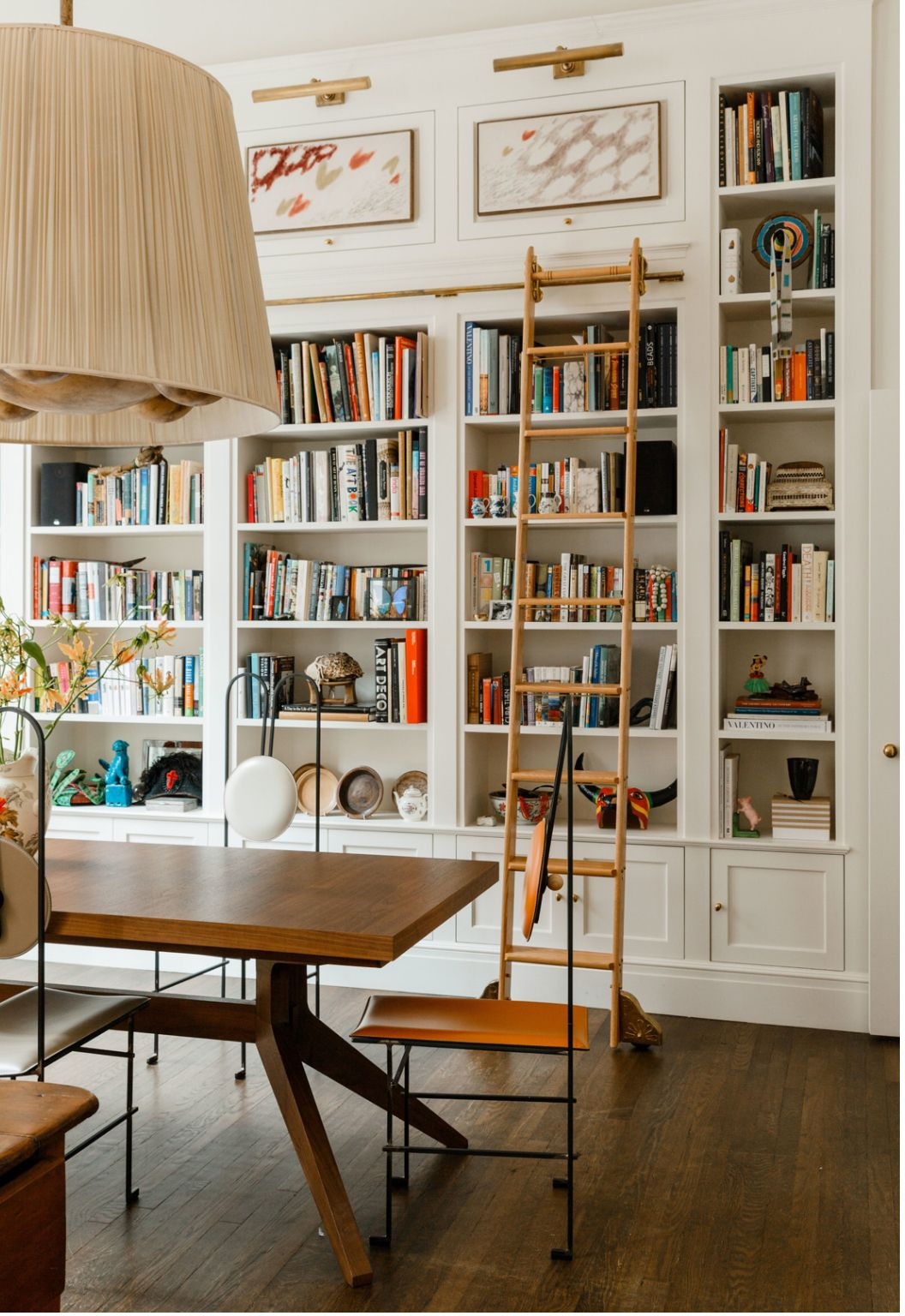Interior Design Home Library: Cabinet & Case Dream House Library Ladder Attached Rolling