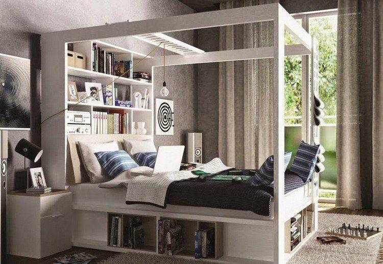 himmelbett mit stauraum unten und regalsystem am kopfteil. Black Bedroom Furniture Sets. Home Design Ideas