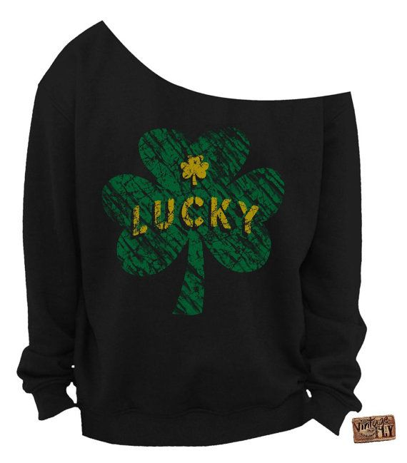 Lucky print lime green sweater St Patrick/'s Day