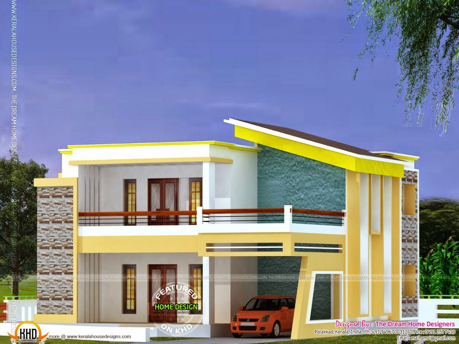 Flat roof house plan and elevation kerala house and for Flat roof elevation