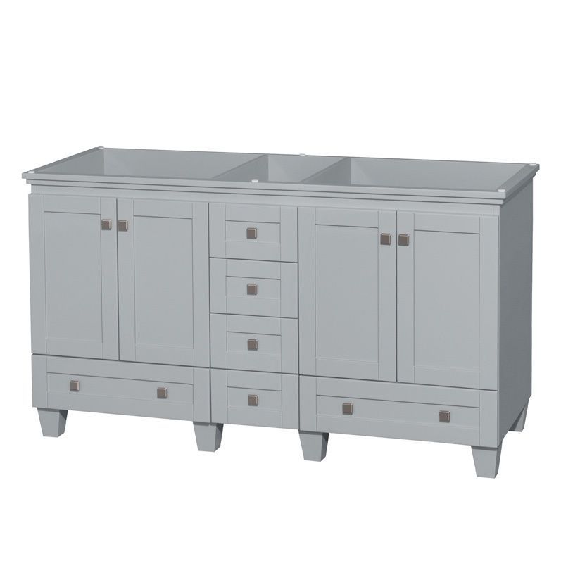 Wyndham Collection Acclaim 60 Inch Oyster Grey Double Vanity No Top Sink Mirror Size Vanities