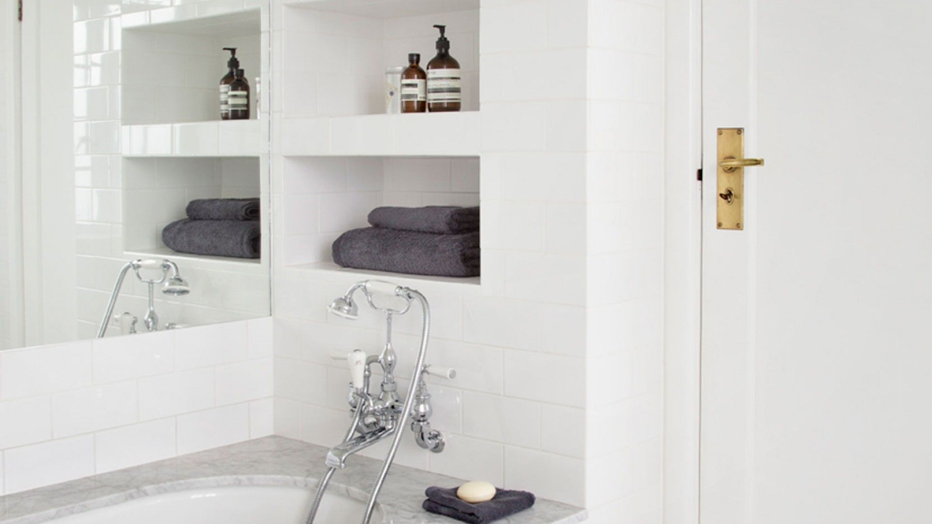 Bright White Modern Bathroom with Recessed Shelving | Home ...
