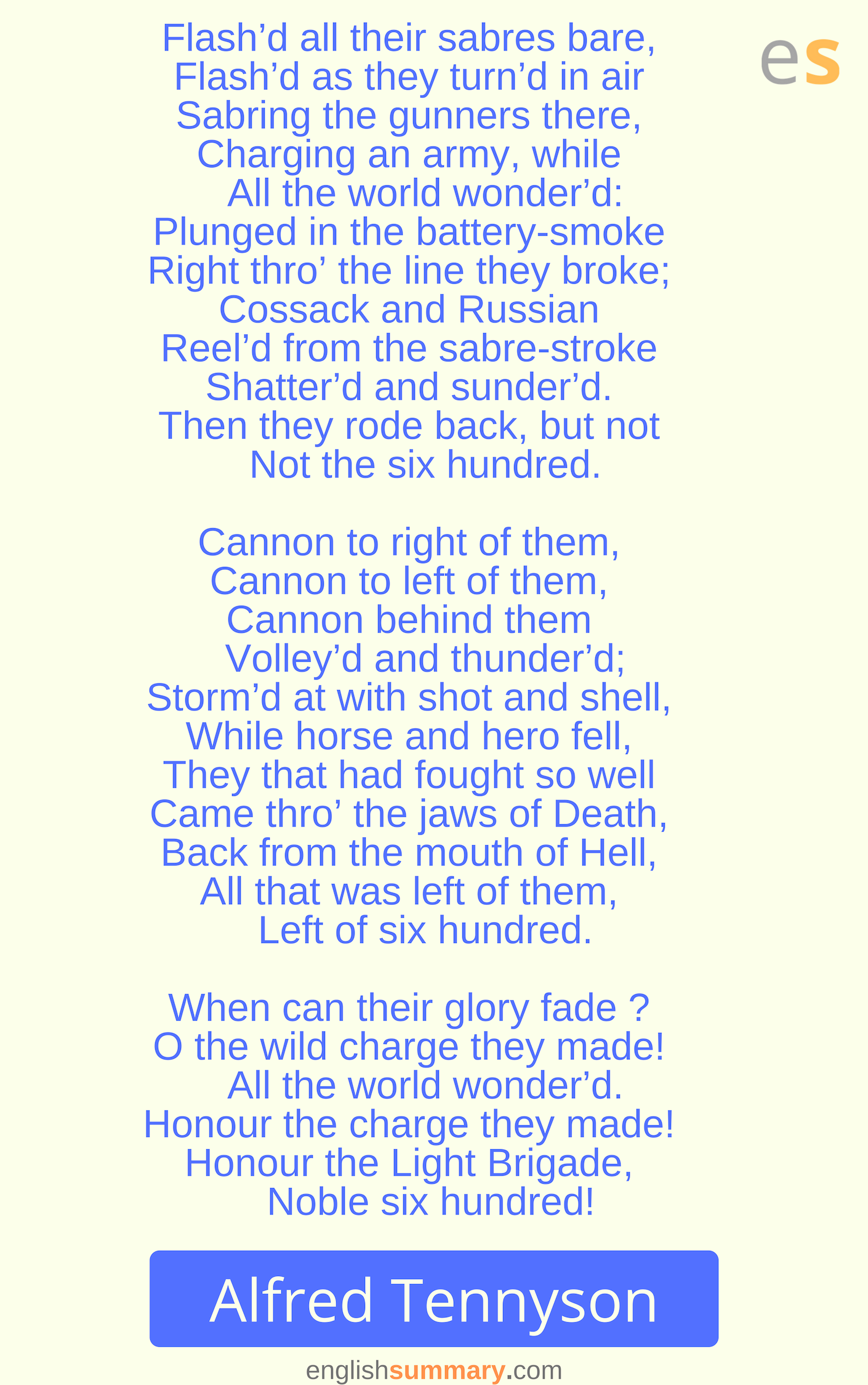 The Charge Of Light Brigade Poem Part 2 By Alfred Lord Tennyson How To Memorize Thing Hurt Lyrics Interpretation I Wandered Lonely A Cloud