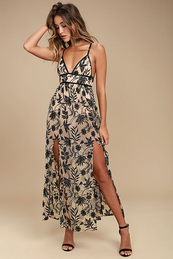 c5c62d740 Lounging never looked so good with the Somedays Lovin' Dusk Black and Nude  Embroidered Maxi Dress! Stunning black floral embroidery decorates sheer  mesh as ...