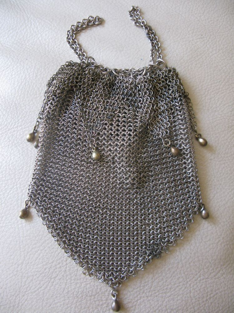 Antique Art Deco Two Tone Silver Frame 20 Brass Ball Drop Tassel Mesh Purse Antiques