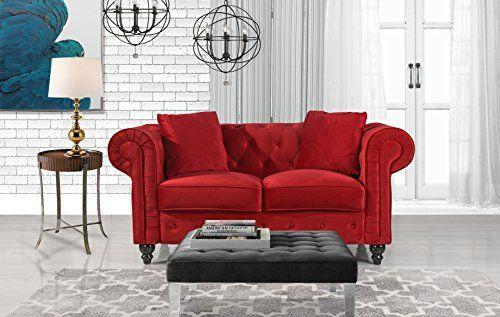 Divano Roma Furniture Classic Modern Scroll Arm Velvet