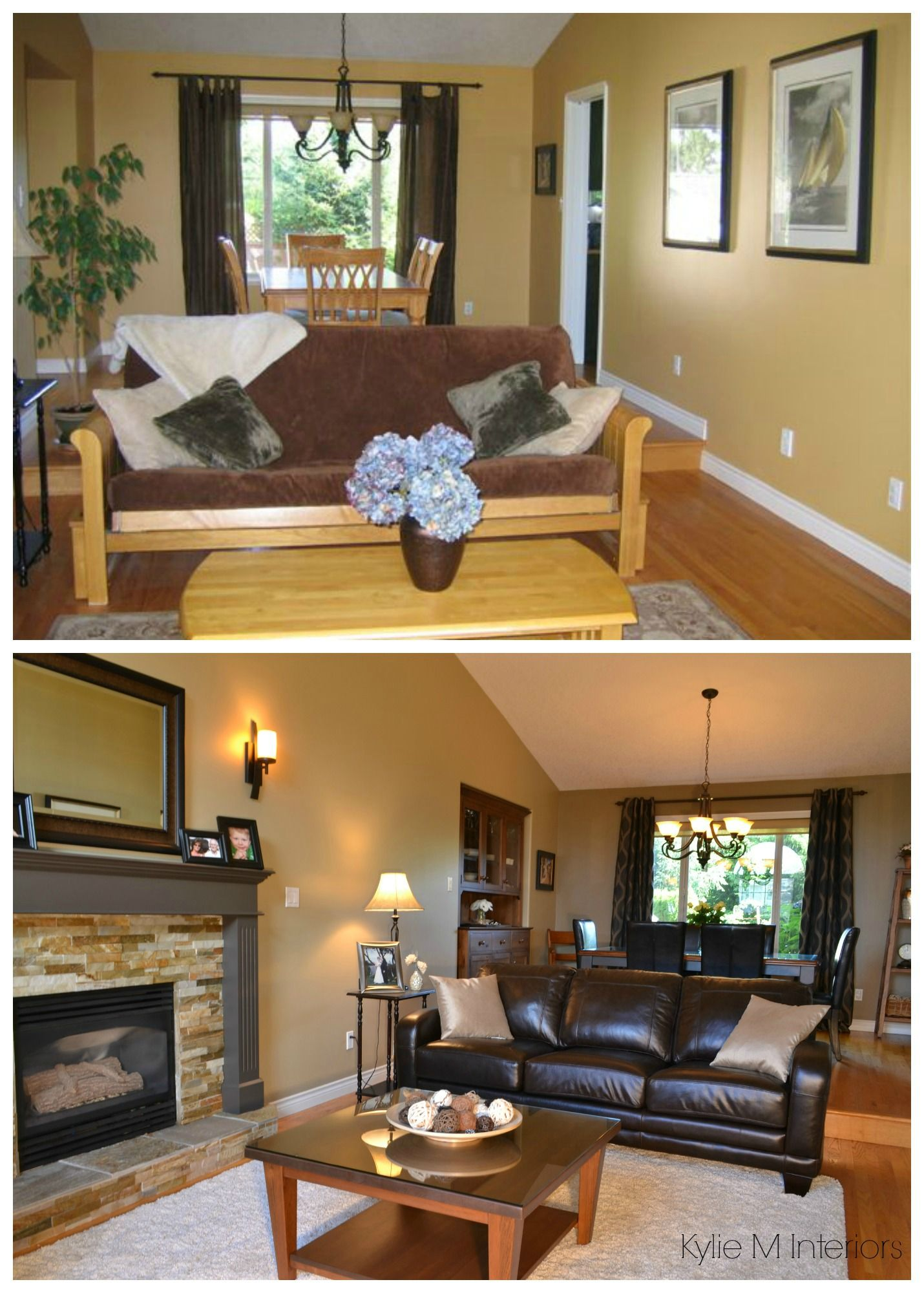 How to lighten a room with low natural light or dark basement room living room before and after with benjamin moore jamesboro gold
